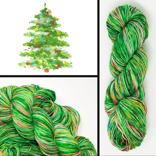 Flocked Christmas Tree- Hand dyed yarn - Hand painted yarn - SW Merino Fingering Weight  400+ yards - Select your base - green rainbow spring time colors