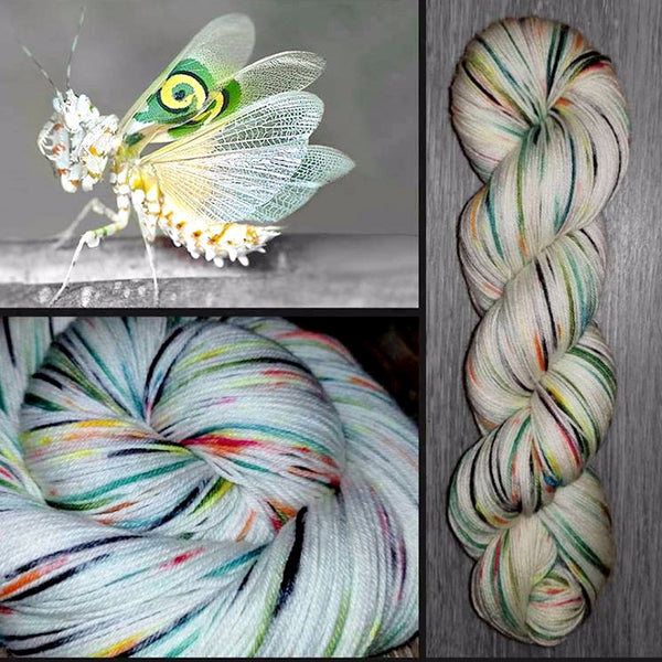 Flower Mantis- Hand dyed yarn - hand painted - Fingering weight - 400+ yards - select your base - white orange green black