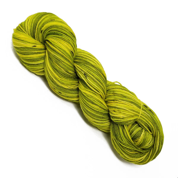 Grinch - Hand dyed yarn - Hand painted yarn - SW Merino Fingering Weight  400+ yards - Select your base - Green Chartreuse black spots