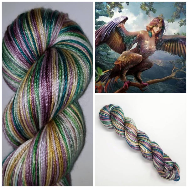 Harpy - Hand dyed variegated yarn - SW Merino Fingering to worsted