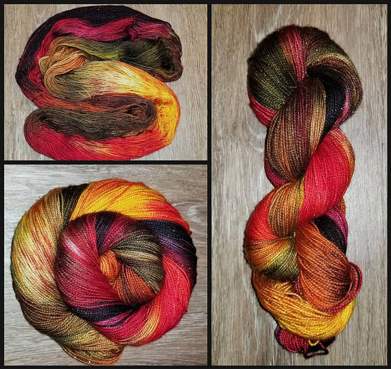 Harvest Time-  Hand dyed yarn -red black yellow brown moss