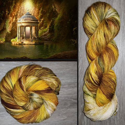 Hidden Temple- Hand dyed yarn - SW Merino Fingering Weight 400+ yards -choose your base- knitting crocheting weaving- yellow caramel moss green brown
