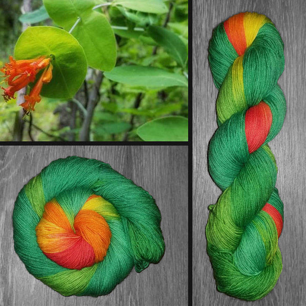 Honeysuckle - Hand dyed yarn, green orange yellow