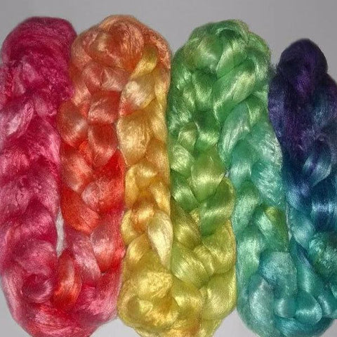 Gradient Rainbow - Pearl Infused Fiber- Eco Friendly- Nano Pearl Dust - Rare and Luxurious - spinning felting fibre ROYGBIV