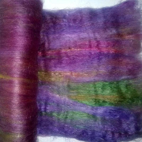 Purple Vineyard Art Batt - superwash merino tencel - wool spinning felting fiber fibre gold caramel moss olive green lilac lavender violet