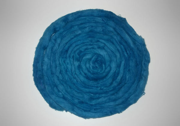 Organic Hand Dyed Cotton Sliver-  roving combed top - Royal blue