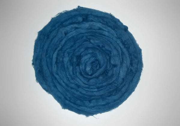 Organic Hand Dyed Cotton Sliver-  Indigo blue - roving combed top -  spinning fiber- felting fibre- vegan eco friendly cruelty free