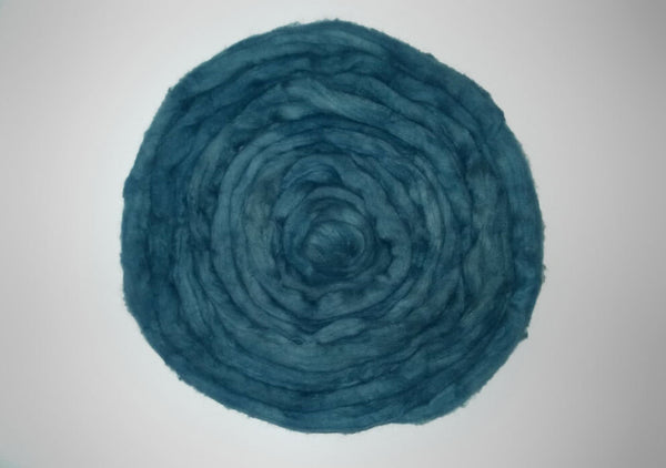 Organic Hand Dyed Cotton Sliver-  roving combed top - teal blue green