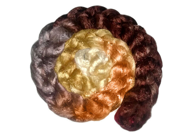 Gradient Braid - Tree Bark - Pearl Infused Fiber- Eco Friendly- Nano Pearl Dust - Rare and Luxurious - spinning felting fibre brown tan