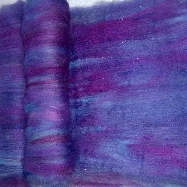 Purple Art Batts -2oz - Sparkling Blue Violet Purple - sw merino firestar angelina merino wool spinning felting fiber arts - xbatt