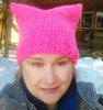 Neon Pink Fuchsia  Pussyhat-  Pussycat Hat - Hand knitted with Merino Wool and nylon - fuchsia pussy cat kitty hat - hand made