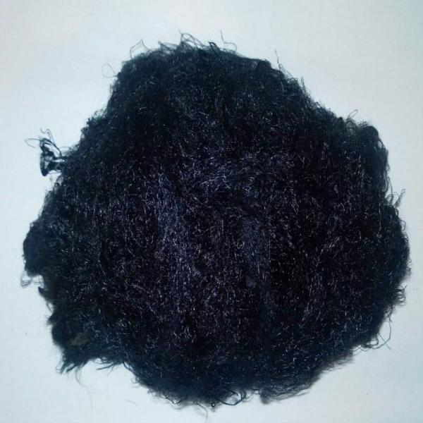 Banana Silk Fiber - black - vegan eco friendly loose textured spinning fiber felting papermaking doll hair crafts