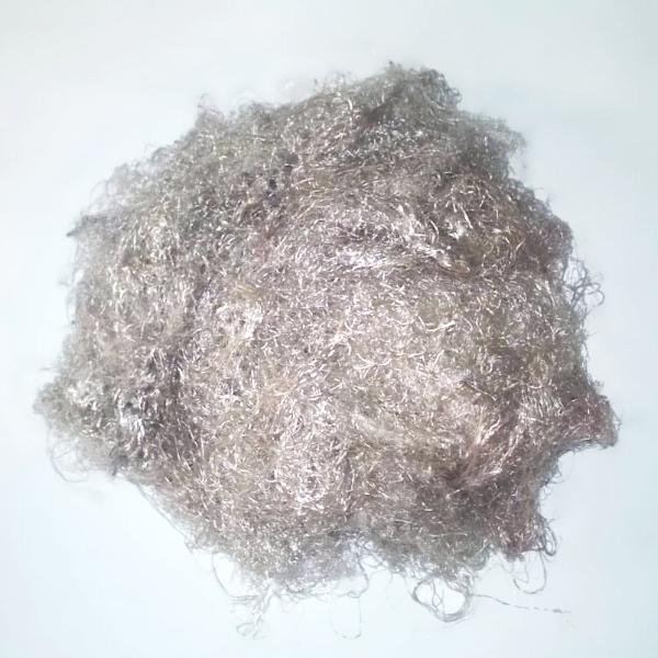Banana Silk Fiber - Brushed Steel - vegan eco friendly loose textured spinning fiber felting papermaking doll hair crafts