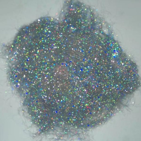 Silver Holographic- Angelina fiber - 1/2oz - rainbow hologram - spinning felting fiber fibre art batts paper making silk fusion crafts