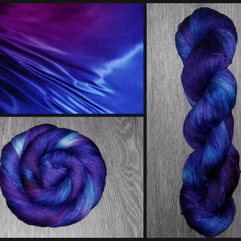 Organic Pima Cotton Yarn - Variegated Yarn - Hand Dyed-  fingering weight 437 yards 100g dyed- knitting crochet knit - Blue violet