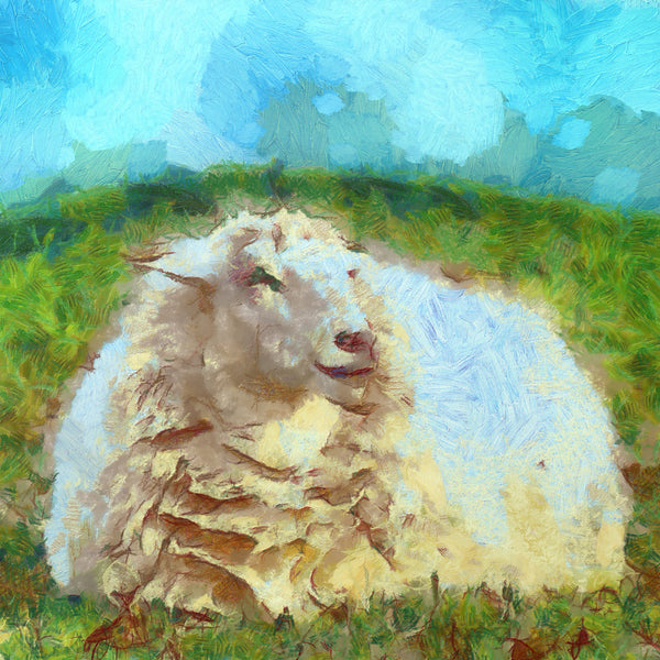 Art Print -High Quality- Oil Painting- Smililng Sheep- choose your size