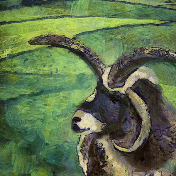 Art Print -High Quality- Oil and Pastels Painting- Jacob Sheep