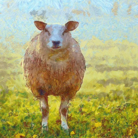 Art Print -High Quality- Oil Painting- Happy Sheep- choose your size