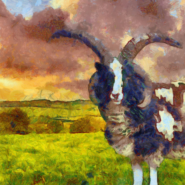 Art Print -High Quality- Oil Painting- Jacob Sheep - choose your size