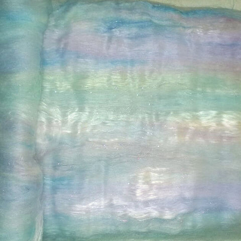 Fairy Dust Art Batts - 2oz - spinning felting fiber- fibre blue purple green seaspray aqua pastel sparkle - soft merino rose fiber bamboo