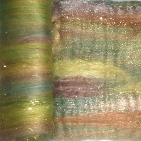 Pumpkin Patch -  Art Batts - orange brown green sparkle gold copper earthy- spinning felting fiber fibre wool merino