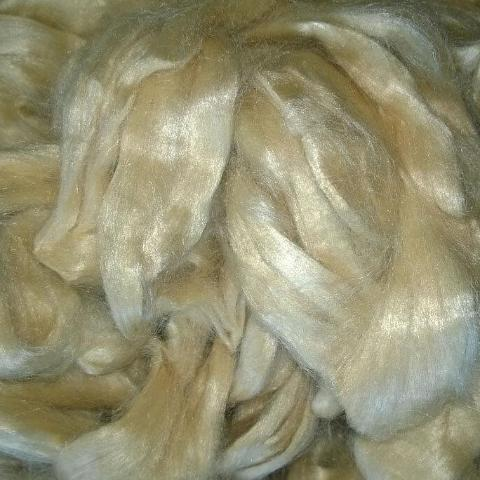 Honey Tussah Silk Combed top Roving- natural brown honey fawn color - spinning felting fiber fibre