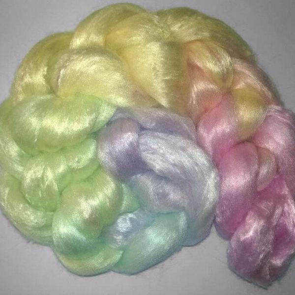 Pearl Infused Rose fiber- Eco Friendly- Nano Pearl Dust - Pastel Rainbow -roving braid combed top spinning felting luxury fiber fibre