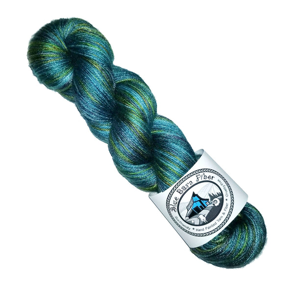 Into the Woods - Hand dyed yarn, teal blue green