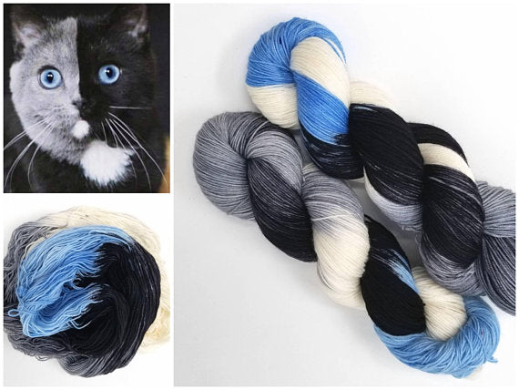 Narnia - Hand dyed yarn Fingering Weight black white grey blue