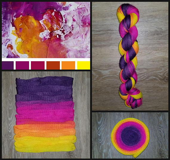 GRADIENT - Neon Sunset-  Hand dyed yarn - SW Merino Fingering Weight 400+ yards -choose your base- knitting crocheting weaving- purple pink yellow