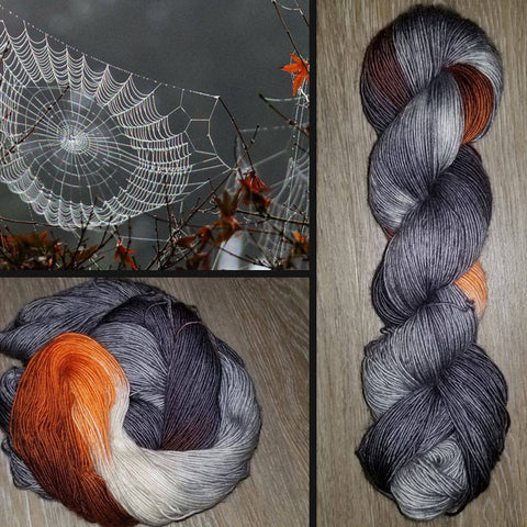 October Web- Hand dyed yarn - SW Merino Fingering Weight 400+ yards - choose your yarn base - knitting crocheting weaving - grey orange black white