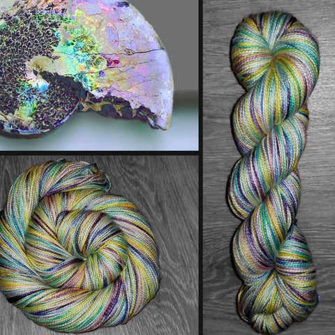 Opalized- Hand dyed yarn - Hand painted yarn - SW Merino Fingering Weight  400+ yards - Select your base - yellow pink purple