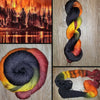 Out of the Ashes-  Hand dyed yarn black red orange yellow brown