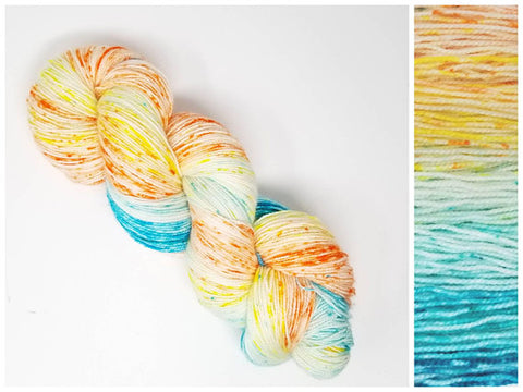 GRADIENT - Peaqua-  Hand dyed yarn - SW Merino Fingering or Dk Weight 400+ yards -choose your base- knitting crocheting weaving- peach yellow aqua spatter indie dyed yarn