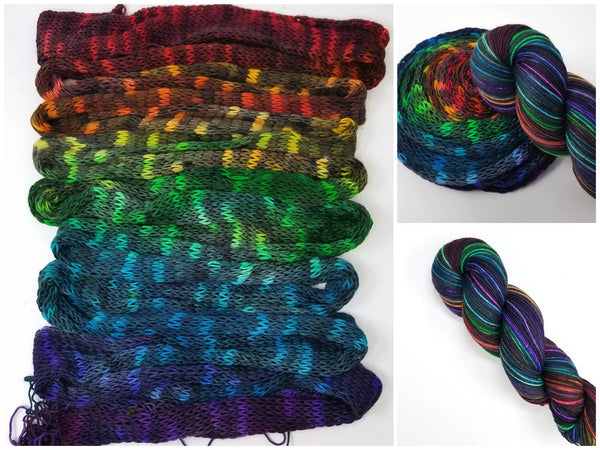Pepper Rainbow GRADIENT -  Hand dyed yarn - SW Merino Fingering Weight 400+ yards -choose your base- knitting crocheting weaving- black rainbow variegated gradient