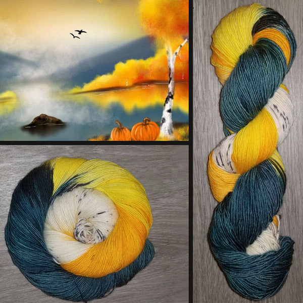 Rain Clouds Over Aspen Lake-  Hand dyed yarn, yellow white black teal