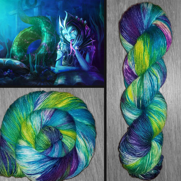 Sea Siren - Hand dyed yarn - SW Merino Fingering Weight 400+ yards -choose your base- knitting crocheting weaving- Purple Blue Green