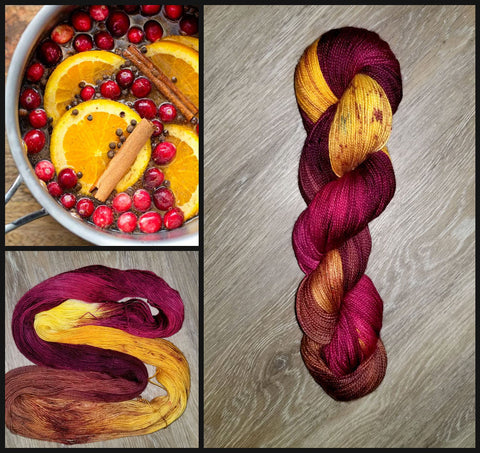 Simmer Down- Hand dyed yarn Merino Fingering red brown yellow