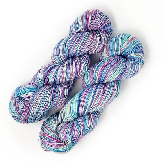 Snowflake- Hand dyed yarn - Merino Fingering Weight pastel purple pink blue white