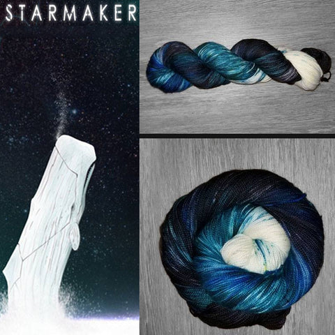 Starmaker - Hand dyed yarn - hand painted - Fingering weight - 400+ yards - select your base - black blue white