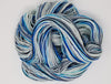 Steller's Jay- Hand dyed yarn -Merino Fingering White grey black blue