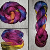 Vintage Cabernet- Hand dyed yarn Merino Fingering red cabernet green blue