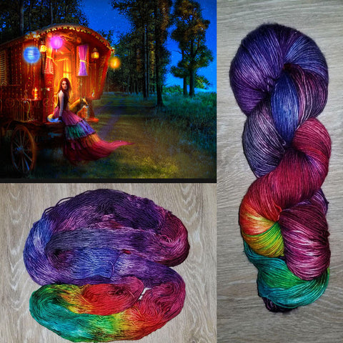 Wanderlust - Hand dyed yarn - Hand painted yarn - SW Merino Fingering Weight  400+ yards - Select your base - purple red rainbow