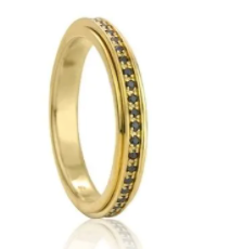 Eclipse YGV Yellow 14K Gold Vermeil Sterling Silver Meditation Ring