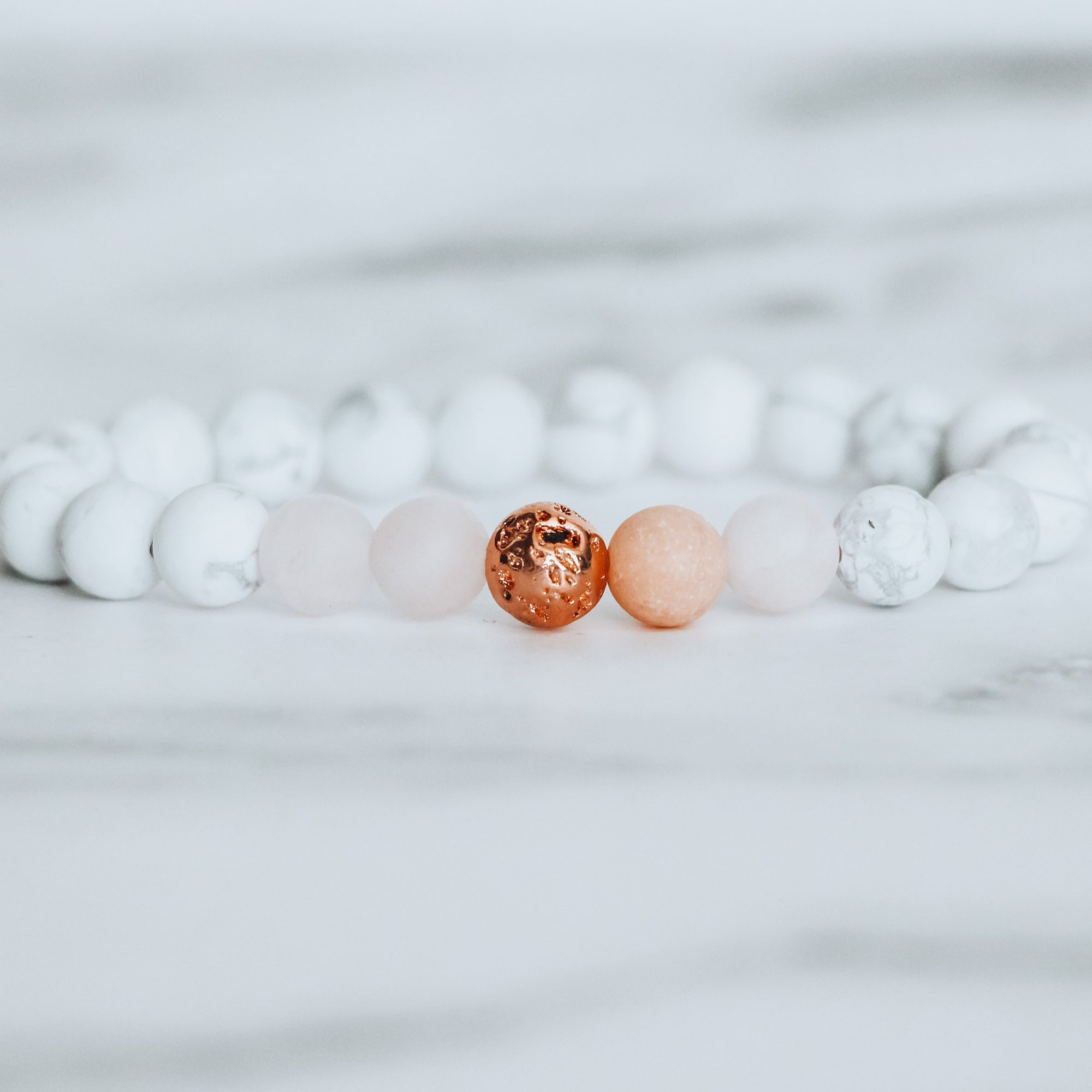 rose quartz bracelet, white howlite bracelet, rose quartz white howlite bracelet, gemstone jewelry, beaded bracelets, beaded jewelry, stones for anxiety, anxiety bracelet, self love bracelet