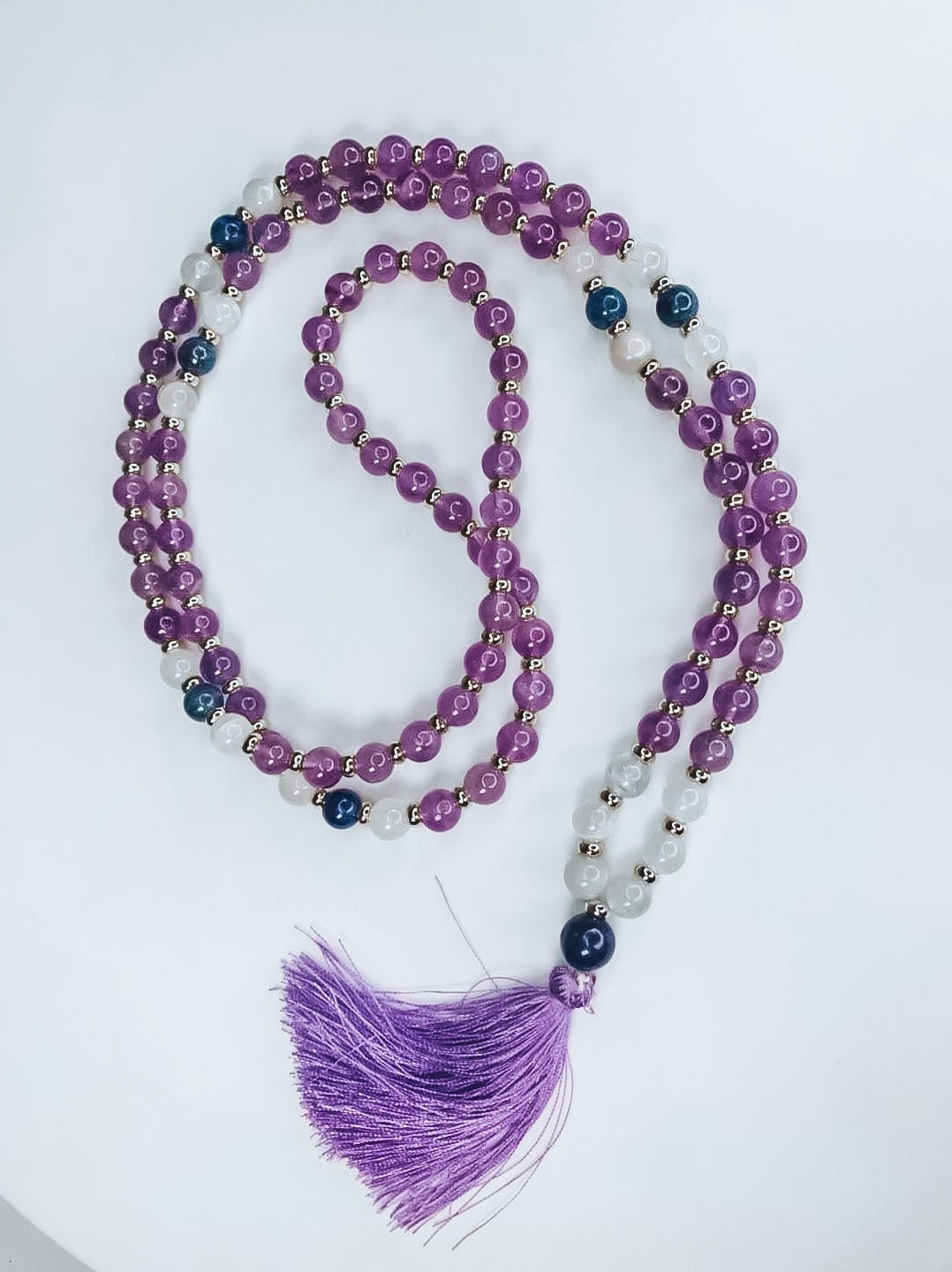 amethyst necklace, amethyst mala bead, amethyst mala necklace, third eye mala necklace, intuition mala bead, intuition mala necklace