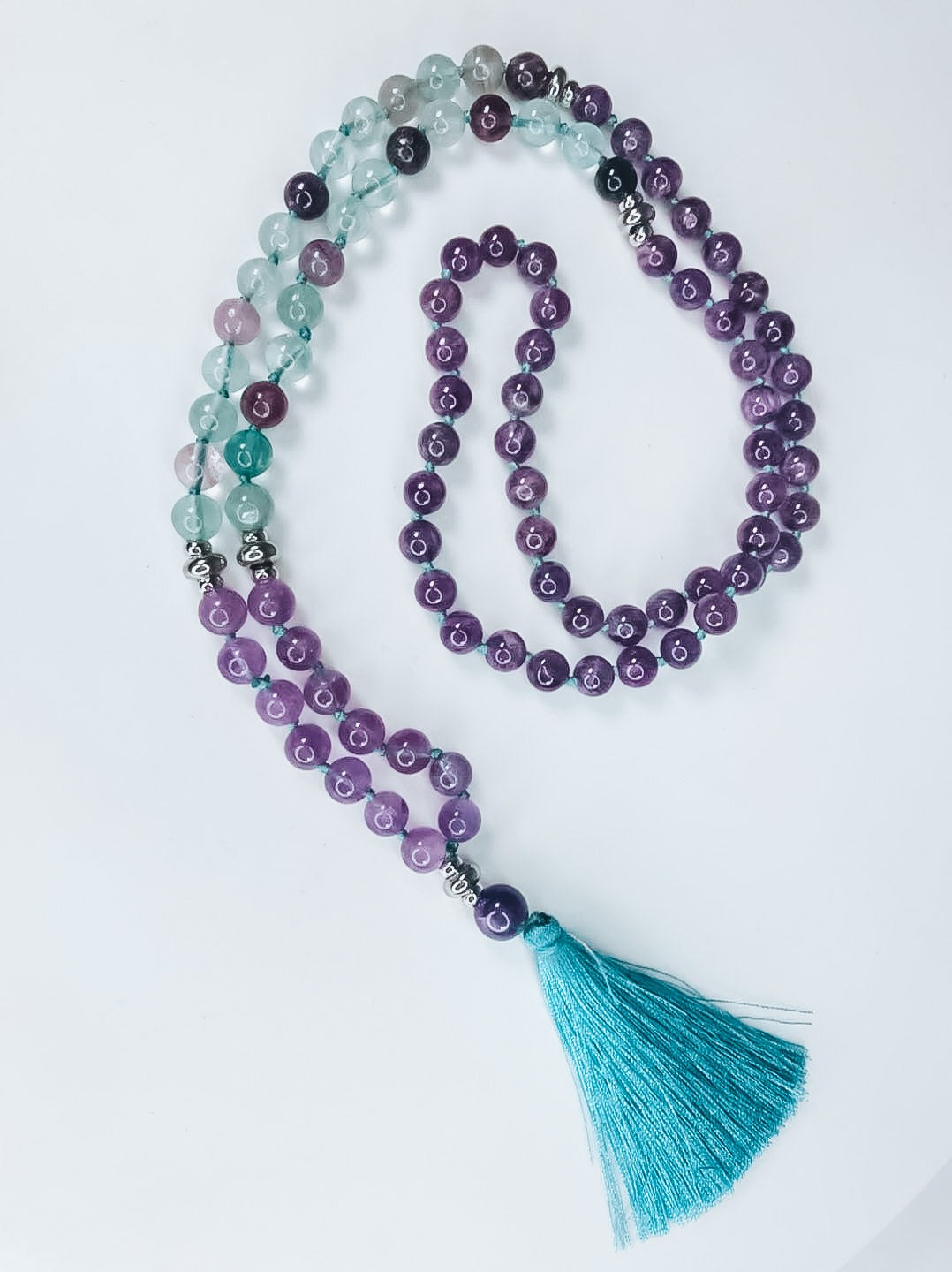 Intuition mala, intuition necklace, third eye mala, third eye chakra necklace, third eye mala necklace, third eye meditation necklace, green fluorite mala, amethyst mala,