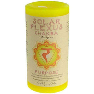 Solar Plexus Chakra Scented Pillar Candle | Reiki Infused