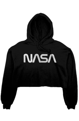 NASA Faded Crop Fleece Women's Hoodie - From Nasa Depot - The #1 Nasa Store In The Galaxy For NASA Hoodies | Nasa Shirts | Nasa Merch | And Science Gifts