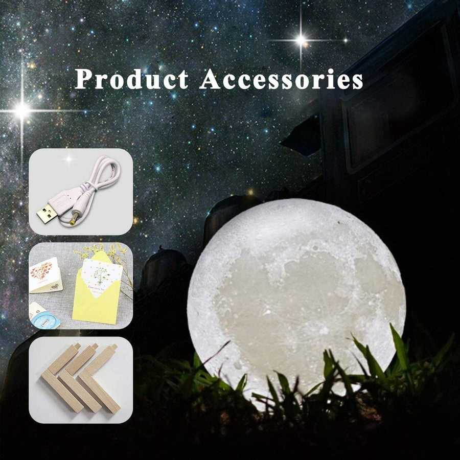 Mydethun Moon Lamp Moon Light Night Light for Kids Gift for Women USB Charging and Touch Control Brightness 3D Printed Warm and Cool White Lunar Lamp (3.5In moon lamp with stand) - Nasa Depot
